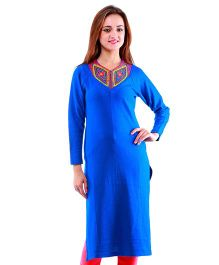 Dove Apparel Raglan Sleeves Woolen Maternity Wear Kurti - Blue