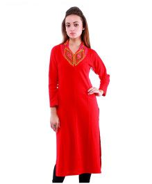 Dove Apparel Raglan Sleeves Woolen Maternity Wear Kurti - Red