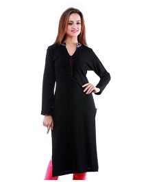 Dove Apparel Full Sleeves Woolen Maternity Wear Kurti - Black