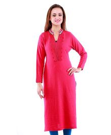 Dove Apparel Full Sleeves Woolen Maternity Wear Kurti - Pink