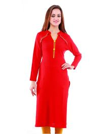 Dove Apparel Full Sleeves Woolen Maternity Wear Kurti - Red Yellow