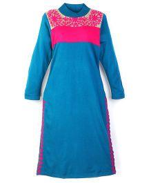 Dove Apparel Winter Woolen Maternity Kurti - Turquoise Blue
