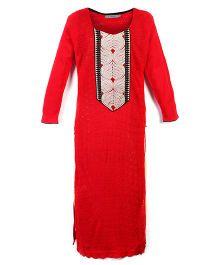 Dove Apparel Full Sleeves Winter Woolen Maternity Kurti - Red