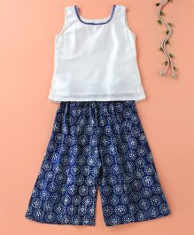 The Little Fashionistas Bartik Print Palazzo & Plain Top With Lace On The Neck  - Dark Blue & Off White