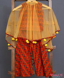 Varsha Showering Trends Pleated Cape With Palazzo Set - Orange & Brown