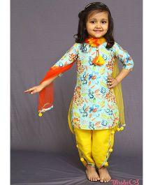 Varsha Showering Trends Flower Printed Kurta With Smart Dhoti Set - Yellow & Multicolour