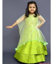 Varsha Showering Trends Double Layered Gown With Sparkling Star Cape - Green