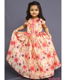 Varsha Showering Trends Floral Print Zipper Gown - Peach Pink & Purple