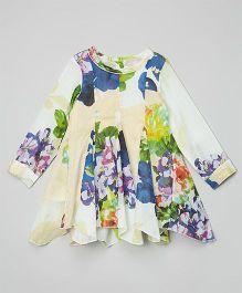 Yo Baby Floral Swing Dress - Indigo & Yellow