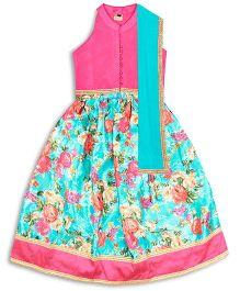 Kid1 Rosette Lehenga Choli With Ghungroo Buttons - Pink & Green