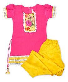 Kid1 Punjabi Salwar Suit With Gota Patti - Pink & Yellow