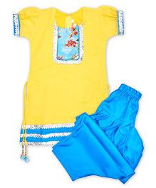 Kid1 Punjabi Salwar Suit With Gota Patti - Yellow & Blue