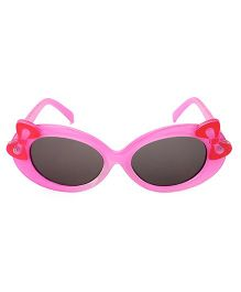 Kids Oval Sunglasses With Bow Appliques - Pink