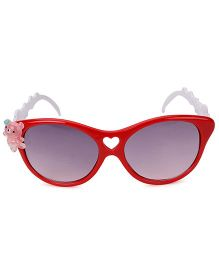 Kids Cateye Sunglasses With Teddy Appliques - Red