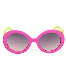Kids Round Sunglasses With Clouds Print - Pink