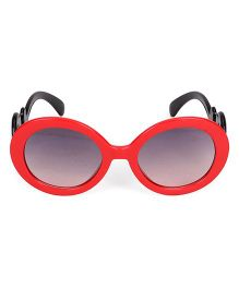 Kids Round Sunglasses With Clouds Print - Red