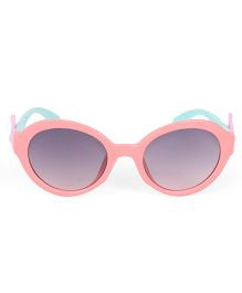 Kids Round Sunglasses With Wings Appliques - Pink