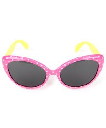 Kids Cat Eyes Sunglasses Dots Print - Pink Yellow