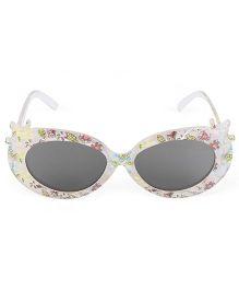 Kids Cat Eye Sunglasses Floral Print - White