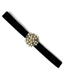 Little Miss Cuttie Elegant Diamond & Pearl Headband - Black