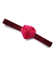 Little Miss Cuttie Glitter Headband With Rose Applique - Hot Pink