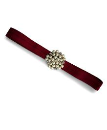 Little Miss Cuttie Elegant Diamond & Pearl Headband - Maroon