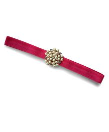 Little Miss Cuttie Elegant Diamond & Pearl Headband - Hot Pink