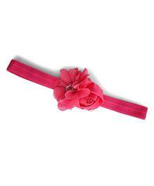 Little Miss Cuttie Stylish Flower Applique Headband With Daimonds - Hot Pink