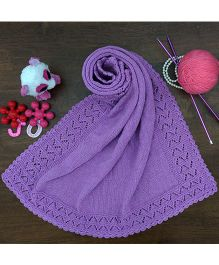 Magic Needles Bordered Blanket - Purple