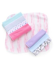 Babyhug Wash Clothes Pack of 8 - Pink Blue Purple