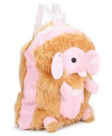 IR Elephant Soft Toy School Bag - Pink And Light Brown