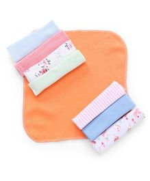 Babyhug Knit Wash Clothes Set of 8 - Orange And Multi Color