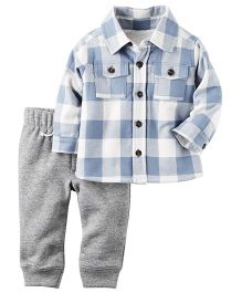 Carter's 2-Piece Sherpa Lined Button Front Top & Fleece Pant Set - Blue White Grey