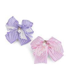 Anaira Ribbon Bow Clips - Pink & Blue