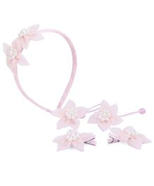 Anaira My Doll Pearly Hairband Hair Clip And Hair Rubber Band Set - Pink