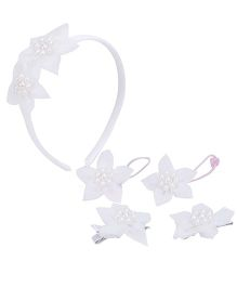 Anaira Mydoll Pearly Hairband Hair Clip And Hair Rubber Band Set - White