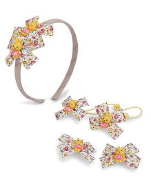 Anaira Floral Style Hairband And Clip Set - Yellow