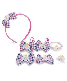 Anaira Cute Checks Hairband And Clip Set - Blue