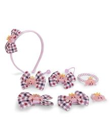 Anaira Cute Checks Hairband And Clip Set - Pink
