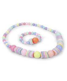 Anaira Multi Beads Necklace And Bracelet Set - Multicolor
