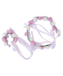 Amaira Princess Tiara And Bracelet Set - Pink White
