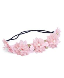 Anaira Pretty Pearly Lace Headband Floral Appliques - Pink