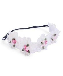 Anaira Pretty Pearly Lace Headband Floral Appliques - White