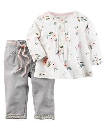Carter's 2-Piece Flannel Top & Corduroy Pant Set - White Grey