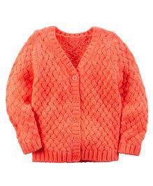 Carter's V Neck Textured Cardigan - Orange