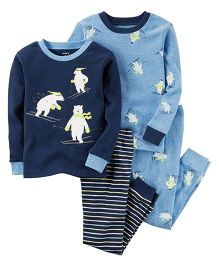 Carter's 4 Piece Pajama Set Skiing Polar Bear Print - Blue & White