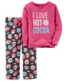 Carter's 2-Piece Cotton & Fleece PJs - Pink Black