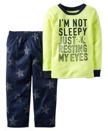 Carter's Full Sleeves Fleece With Not Sleepy Printed Nightwear Set - Green & Blue