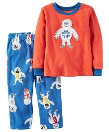 Carter's 2-Piece Fleece PJs - Orange Blue