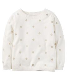 Carter's Glitter Dot Sweater - Ivory White